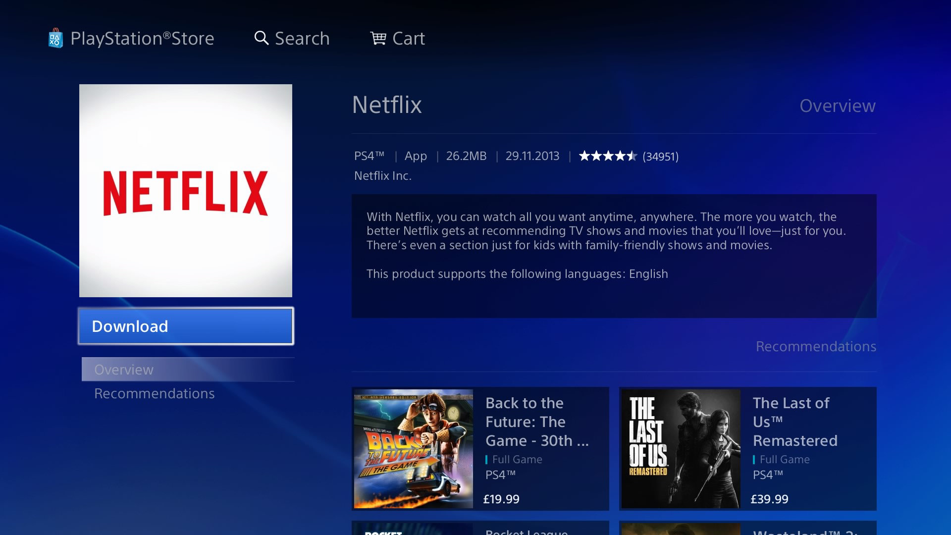Netflix en PlayStation 4